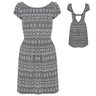 View Item Black and White Aztec Print Skater Dress